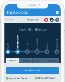 TapGoods PRO - Mobile screen of cloud rental software