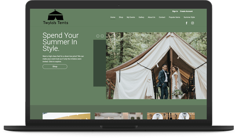 Storefront for Tent Rentals - Magnolia Dark Theme