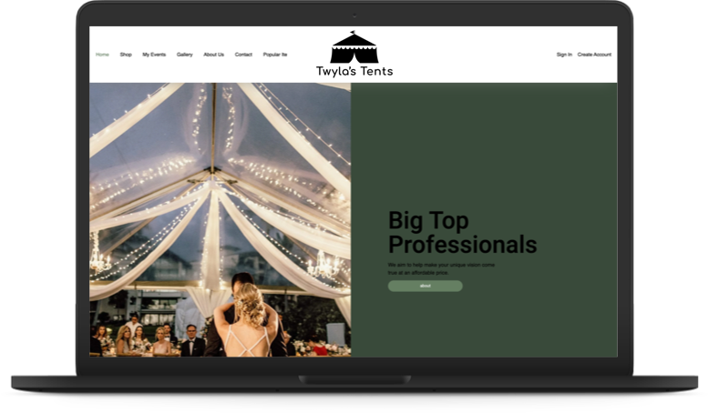 Ecommerce for Tent Rentals - PreScott Theme