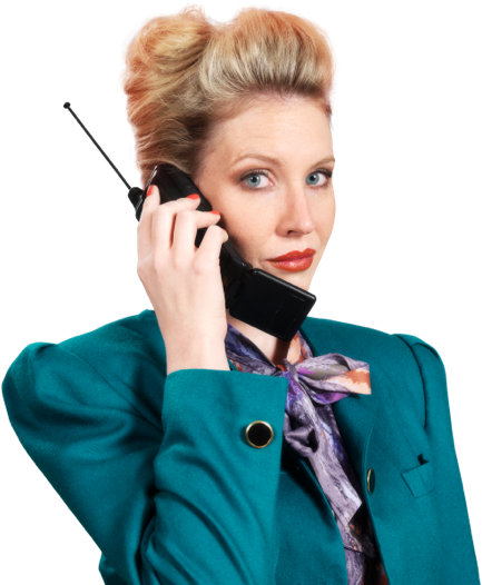 Woman holding telephone